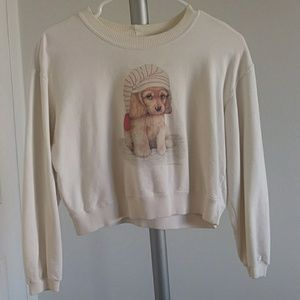 Cropped white puppy dog sweater